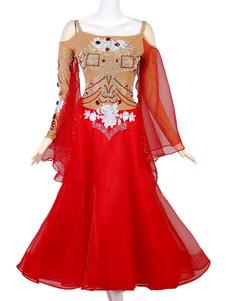 Trajes de dança de salão Gem Jeweled Rhinestone Cut Out Red Women Dress Dancing Wear
