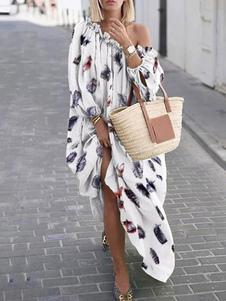 Vestido largo blanco  Moda Mujer con dibujo de animal con manga larga Vestidos de poliéster con pliegues con escote a un solo hombro Otoño