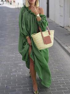 Vestido largo verde  Moda Mujer con manga larga de algodón Vestidos con pliegues Color liso con escote a un solo hombro estilo bohemio Otoño
