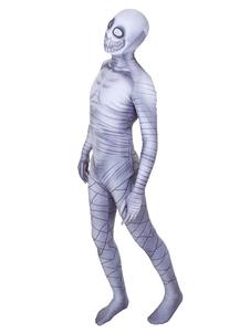 Хэллоуин скелет зентаи серый лайкра спандекс зомби комбинезон костюм