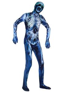 Disfraz Carnaval Disfraz de mono de leotardo con estampado de zombis de esqueleto de Halloween Carnaval