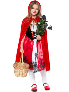 Crianças Halloween Cosplay Red Riding Hood Velour Dress Manto Cosplay Costumes