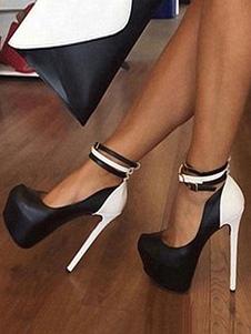 Mujeres altos talones atractivos del dedo del pie redondo del bloque del color de la correa de tobillo de la plataforma Zapatos atractivos para el partido