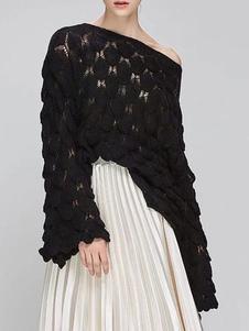 Assimétrica mulheres Pullovers Moda Neck cortado em camadas