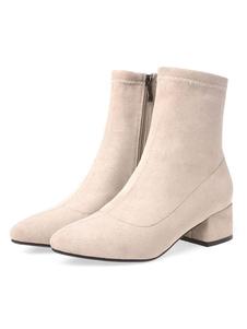 """أحذية الكاحل المرأة الجزئي من جلد الغزال الأسود وأشار اصبع القدم منخفضة مكتنزة كعب 2 """"الجوارب"""