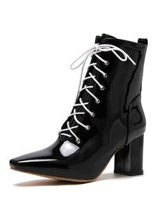 """Mulheres Ankle Boots Couro envernizado Branco Lace Up Toe quadrado 2.8 """"Botas"""