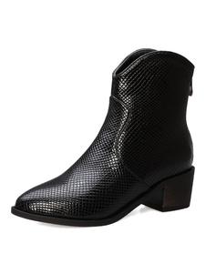 Botines mujer negro Botas Cowboy Mujer Botines de mujer Punta redonda con estampado de serpiente Puppy Heel Botines 2020