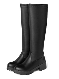 de PU de puntera redonda Botas altas mujer negro  botas altas negras 4.5cm de tacón de puppy Color liso Otoño Invierno para ocasión informal
