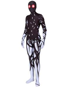 الوحش الأسود Zentai طباعة ليكرا دنة للجنسين هالوين يوتار بذلة