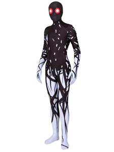 Disfraz Carnaval Monstruo negro Zentai Imprimir Lycra Spandex Mono Unisex Halloween Leotardo Mono Carnaval