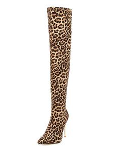 """Mulheres sobre o joelho botas microcamurça dedo apontado leopardo 3.9 """"botas de salto agulha"""