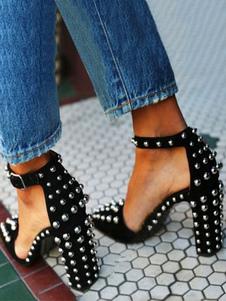 Donna Tacchi alti Cinturino alla caviglia Punta a punta Tacco grosso Rivetti Chic Plus Size Scarpe nere per la festa