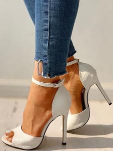 Sandali da donna con tacco a spillo cinturino alla caviglia Peep Toe Plus Size Sandali vestito