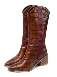 "Botas de cano médio para mulher, Chunky Heel Pointed Toe 2.4 ""Boots"