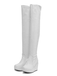 Botas altas mujer blanco  de PU de tacón de cuña de puntera redonda 9cm Color liso Otoño Primavera 3cm Cremallera para ocasión informal