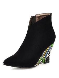 Botas de tornozelo das mulheres Micro camurça apontou Toe Wedge Heel Booties