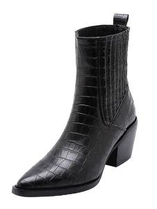 Botas de tornozelo de mulheres impressão de crocodilo bico fino botas de moda de salto robusto