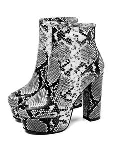 """Stivaletti da donna con plateau tacco grosso stampa serpente stivaletti punta rotonda grigio chiaro da 4,7 """""""