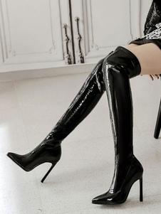 """Mulheres sobre o joelho botas de couro envernizado dedo apontado 4,7 """"coxa botas altas"""