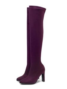"""Botas acima do joelho para mulher Borgonha Almond Toe 3.5 """"Botas de inverno"""