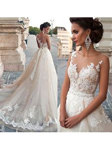 Vestidos de novia 2020 Jewel Illusion Neck sin mangas Linea A Lace Flora Applique Vestidos de novia con cola larga