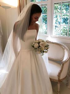 Vestidos de novia sencillos de línea A sin mangas Vestidos de novia Marfil con escote palabra de honor sin tirantes cintura baja con pliegues