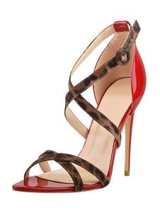 女性用サンダルスティレットヒールシッククリスクロスポインテッドトゥヒョウ柄靴