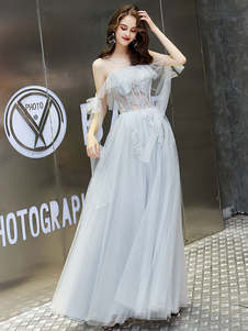 Vestido de fiesta Princess Silhouette Jewel Neck Lace Half Sleeves Ruffles Wedding Guest Dresses