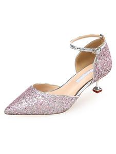 Scarpe da sera eleganti da donna con paillettes e tacchi a spillo chic