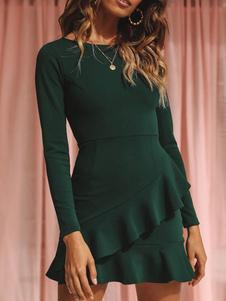 Mini Vestidos Verde Oscuro Manga Larga Volantes Algodón Vestido Corto