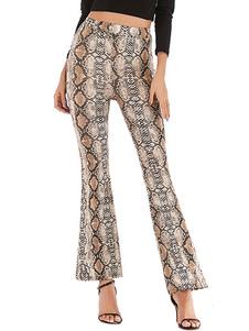 Stretchy de Bell calças fundo de pele de cobra Imprimir cintura alta Alargamento Pants