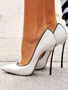 Zapatos de tacón de aguja con punta puntiaguda sin cordones para mujer Tallas grandes Tacones altos elegantes Blanco
