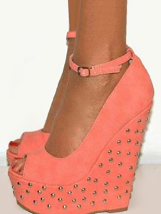 Туфли на танкетке с шипами на высоком каблуке