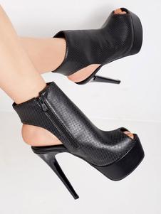 Saltos Altos Sexy Espreitar Um Boo Toe Stiletto Heel Party Botas Pretas
