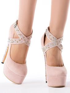 Tacones altos sexy para mujer Zapatos de fiesta cruzados con tachuelas rosadas con punta redonda