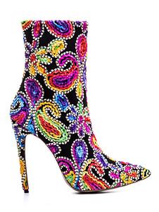 "Mulheres Ankle Boots Dedo Apontado Arte Bordada Stiletto Heel 4.7 ""Booties"