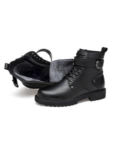 Stivali da uomo Martin per stivaletti con punta arrotondata in pelle con fibbia moda inverno