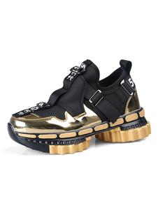 الرجال اللون الساطع قوام رياضي الطول زيادة احذية مريحة جولة تو اللون كتلة أحذية