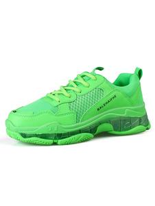 Sapatilhas de cores brilhantes para homens com malha aconchegante Toe Round Athletic Shoes