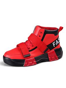 Sapatilhas de cano alto dos homens Moda Dedo do pé redondo Cor Bloco Altura crescente sapatos atléticos