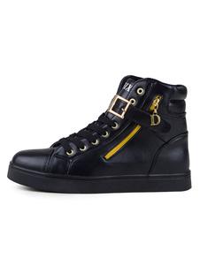 Zapatillas altas blancas para hombres Zapatos cómodos con cordones
