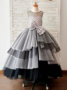 Черный польки Тюль корсет Назад бальное Cupcake Свадебный Цветочница платье