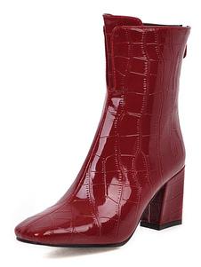 """Stivaletti da donna in pelle verniciata stampa coccodrillo punta quadrata rossa tacco grosso 3 """"stivaletti"""