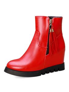 botines mujer rojo  de tacón de cuña de puntera redonda 8cm de PU Primavera Invierno Color liso Cremallera para ocasión informal estilo moderno