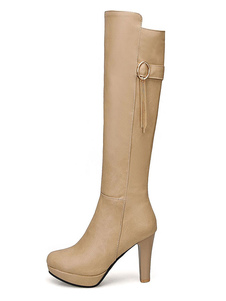 """Botas altas até o joelho das mulheres, calcanhares redondos, botas de inverno com salto robusto 3.9 """""""