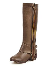 Stivali alti rotondo PU Stivali al ginocchio Stivali tacco cavalleresco Marrone  3cm bottoni in pelle monocolore Primavera Autunno casuale
