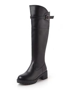 """المرأة في الركبة أحذية عالية الأسود جولة اصبع القدم مشبك جرو كعب 2 """"أحذية الشتاء"""