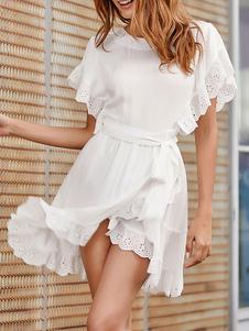 فستان أبيض جوهرة الرقبة مطوي القطن شاطئ اللباس