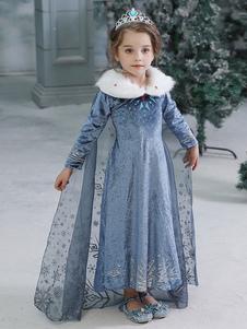Costume Carnevale per Bambini Costumi Cosplay per bambini Princess Elsa Hot Stamping Blue Dress Costumi per bambini Costume Carnevale