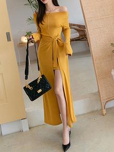 Maxi Vestidos de mangas compridas Amarelo Fora do ombro Dividir Frente Vestido assimétrico de algodão